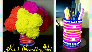 How to make bangle flower vase with woolen Pompom Flower | DIY flower vase making | woolen craft