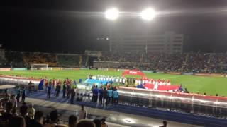 Казахстан - Дания: выход и гимны команд