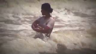 Tourist girls taking sea bath in Digha sea beach