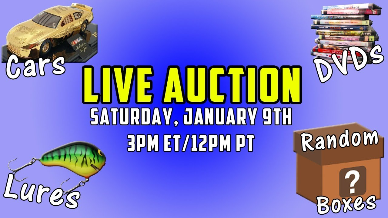 AWESOME LIVE AUCTION - Fishing Lures, DVDs, Collectible NASCARs, Cars, AND MORE!