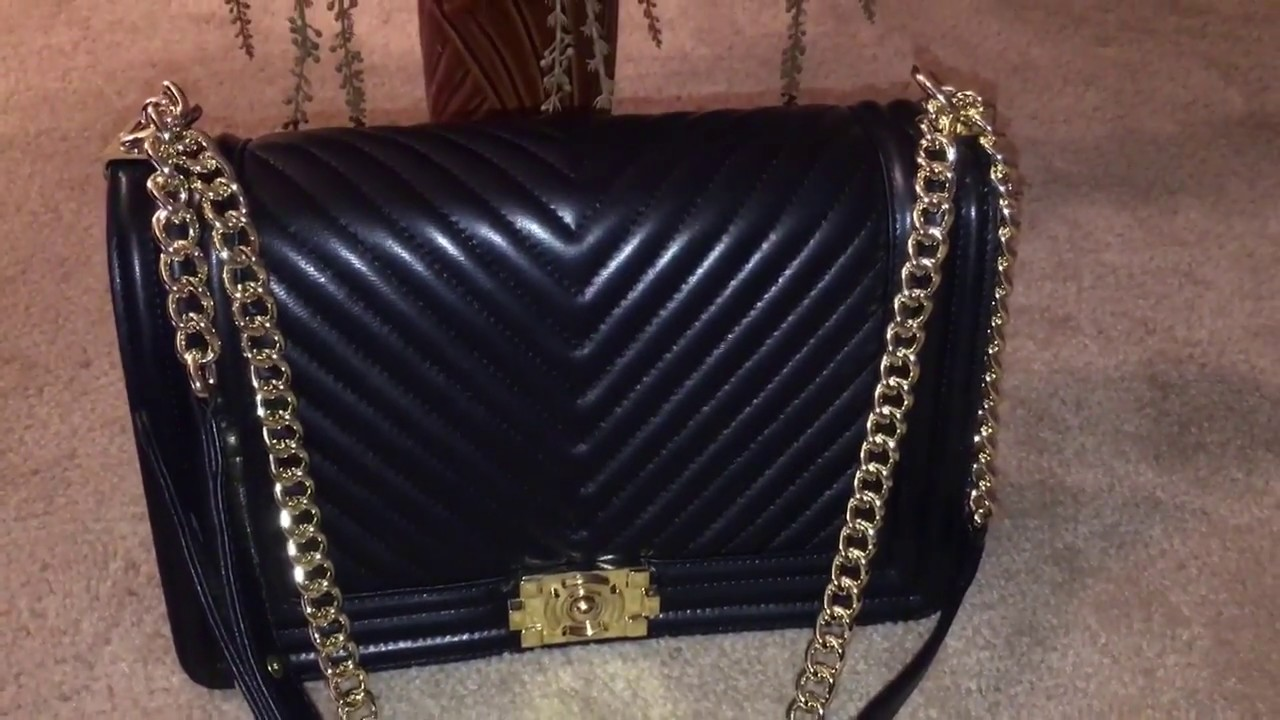 Ainifeel Leather Quilted Chevron Chain Strap Chanel Boy Inspired