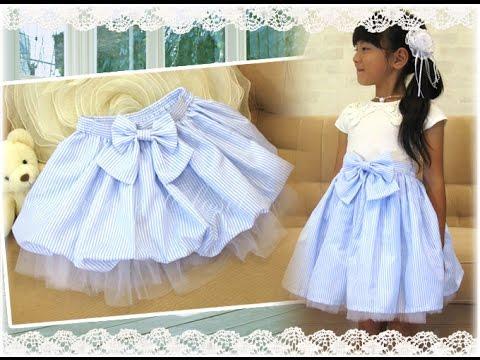 子供服 2Wayチュール&ストライプふんわりスカート(ストライプリボン付き)AC10C