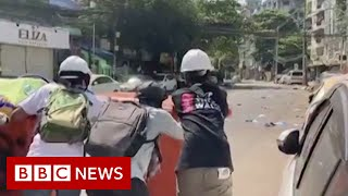 Defiant Myanmar anti-coup protesters return a day after 38 are killed - BBC News