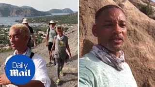 Will Smith climbs to top of volcano with Jada, Jaden and Willow