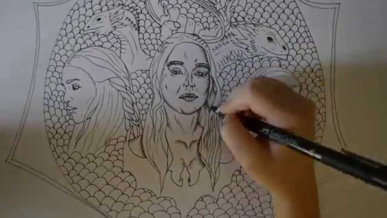 Game Of Thrones Daenerys And Dragons Ink Speed Drawing By Riarne