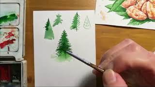 Как рисовать елки акварелью?