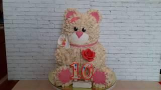 Торт Мишка || Сборка и украшение торта в виде медведя