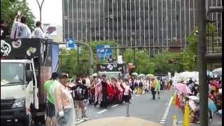 第21回うらじゃ市役所筋パレード「咲楽(さくら)」2014年、1回目演舞.