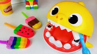 Baby Shark Tooth Play and Baby doll Play Doh Ice Cream toys brushing teeth play - ToyMong TV 토이몽