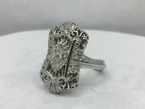 Platinum Edwardian styled diamond ring