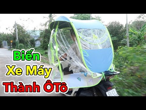 Lâm Vlog - Biến Xe Máy Thành Xe Ô Tô Chỉ Với 300k   Dù Che Mưa Nắng Cho Xe Máy