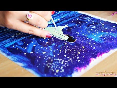 Acrylic Painting For Beginners Easy Acrylic Painting Angel In Moonlight Acrylic Painting Ideas Youtube