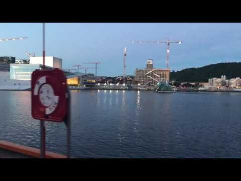 Oslo waterfront by the opera and a floating sauna!