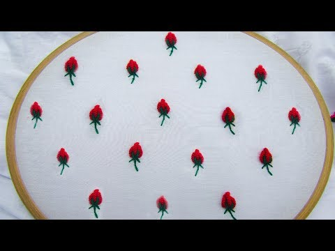All Over Embroidery Design for Dress, Rose bud embroidery