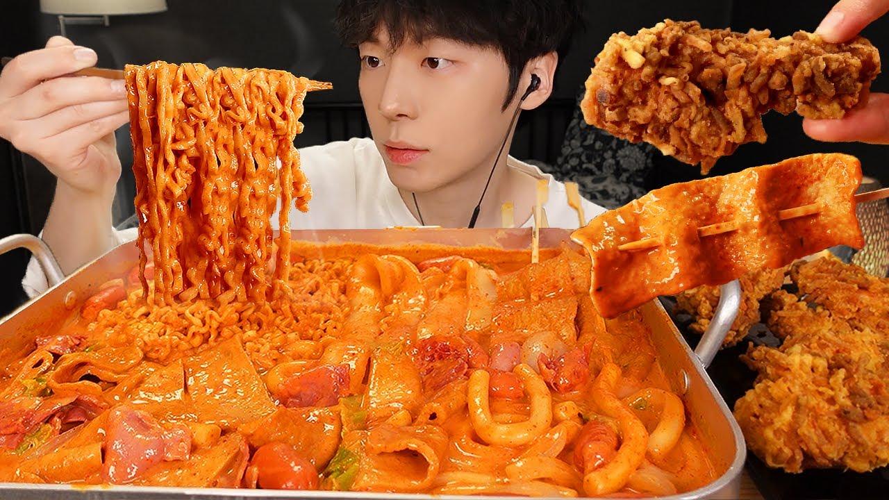 ASMR MUKBANG | 직접 만든 로제 떡볶이 양념치킨 튀김 먹방 & 레시피 FRIED CHICKEN AND Tteokbokki EATING