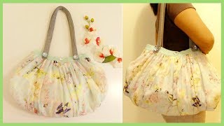 DIY BAG: Ladies Floral Bag with Denim Handles from Old Clothes