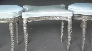 Unique 3 Piece French Silver Leaf Carved Stool Set