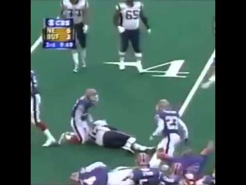 Tom Brady Destroys/Big Hit by Nate Clements (Bills vs Patriots 2001)