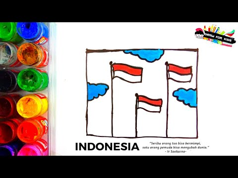 Cara Menggambar Bendera Merah Putih Berkibar Draw For Kids Youtube