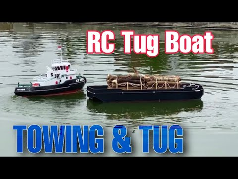 RC Tug Boat Towing Deck Barge