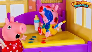 Toy Learning Video for Kids - Peppa Pig Babysitting Baby Alexander!