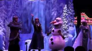 Frozen Summer Fun 2015 end of day stage show with Olaf, Anna, Elsa, Kristoff at Walt Disney World