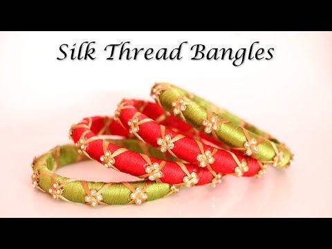 Party Wear Silk Thread Bangles | Handmade Designer Jewelry | Little Crafties
