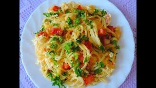 Итальянская паста карбонара.  Готовится легко и быстро.  Очень вкусное блюдо