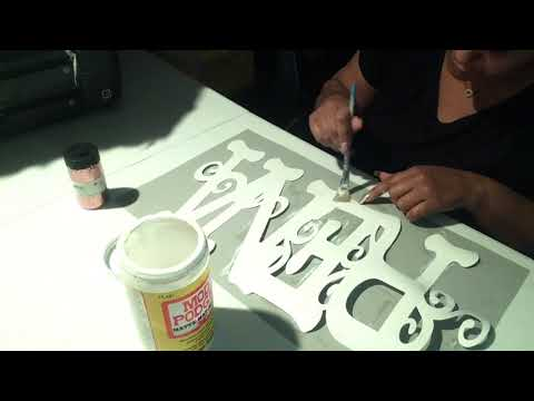 """DIY with Cricut 21"""" Glittered Name Insert for Hula Hoop"""