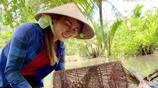 Vlog 70|Cua Đồng Làm Mồi Đặt Lợp Cá Bóng Dừa Và Cái Kết| Hồ Thùy Dương Vlog