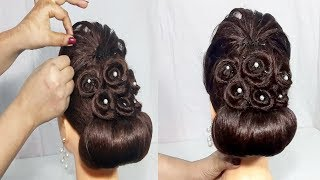 Latest Bridal Bun hairstyle for wedding   Easy Updo hairstyle for long hair   Hair Style Girl