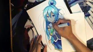 Drawing Aqua from KonoSuba (Kono subarashii sekai ni shukufuku wo !)
