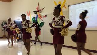 Carver Middle School cheer squad give special performance for author Cynthia Wills