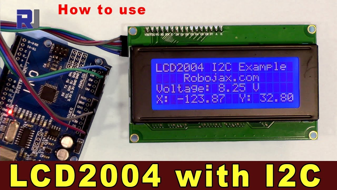 Library and Arduino code for LCD2004 display with I2C - Robojax