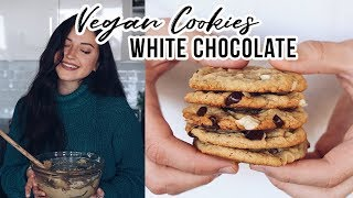 Dairy-free + vegan white chocolate chunk cookies (full recipe below...