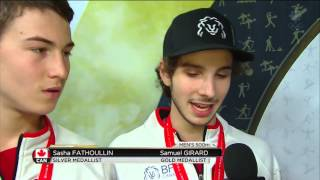 Samuel Girard & sasha fathoullin /Men`s 500m Final + interview - Short Track Speed Skating Toronto