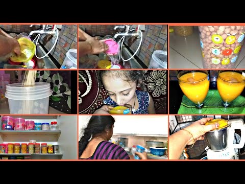 Monthly Kitchen Cupboards Cleaning Routine/Mango Juice Recipe
