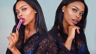 Liquid Lipsticks Try On on Dark Skin ft  Kylie LipKit, Huda Beauty & Kat Von D