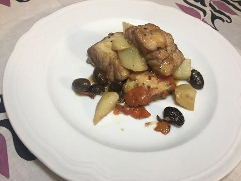 Baccalà in umido con olive e patate