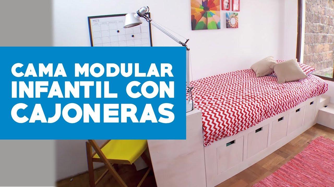 Cómo hacer una cama modular infantil con cajoneras? - YouTube