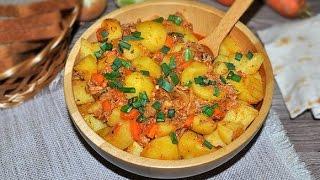 Готовим картофель с тушенкой