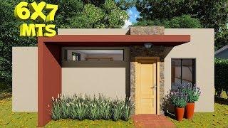 Plano de casa de 6x7 metros con 2 dormitorios