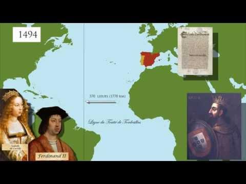 Le traité de Tordesillas (1494): le partage du monde (carte animée)