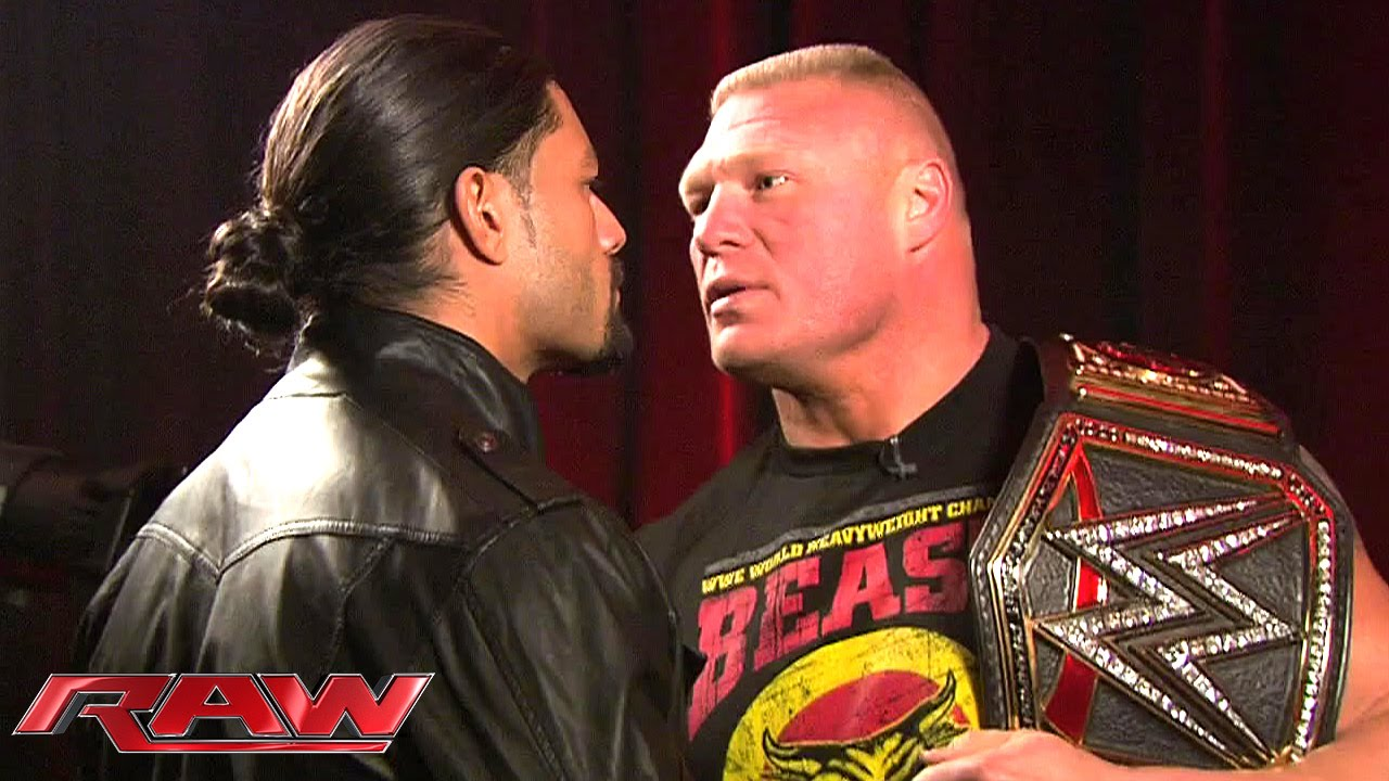 Roman reigns and brock lesnar meet face to face january 26 2015 roman reigns and brock lesnar meet face to face january 26 2015 youtube kristyandbryce Choice Image