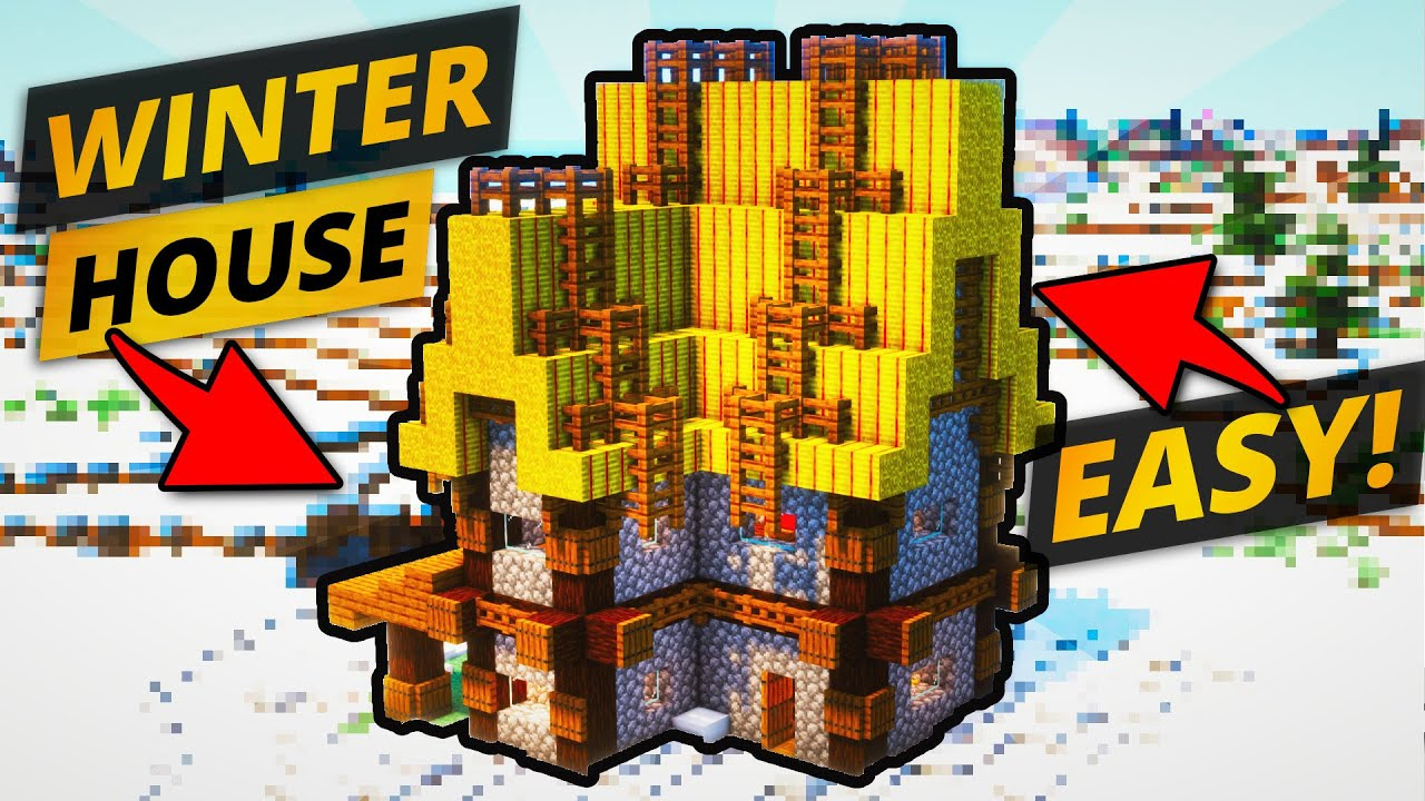 Easy Winter House in Minecraft: Timelapse