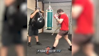 CANELO LOOKING TO PUNISH GOLOVKIN TO THE BODY AFTER COMMENTS! WORKS HOOKS IN CAMP FOR REMATCH!