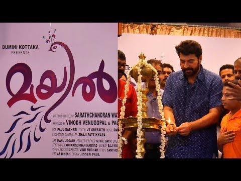 "Mammootty lighted the lamp for movie ""MAYIL"" which starts rolling."