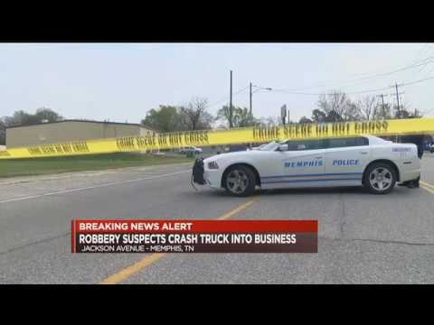 Suspects crash truck into business during robbery   WMC Action News 5   Memphis Tennessee