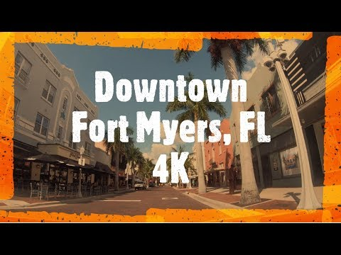 Driving Downtown - Fort Myers 4k - FL USA