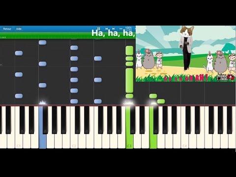 Youtunes - J'aime les chats - Karaoke / Piano synthesia tutorial (lyrics)
